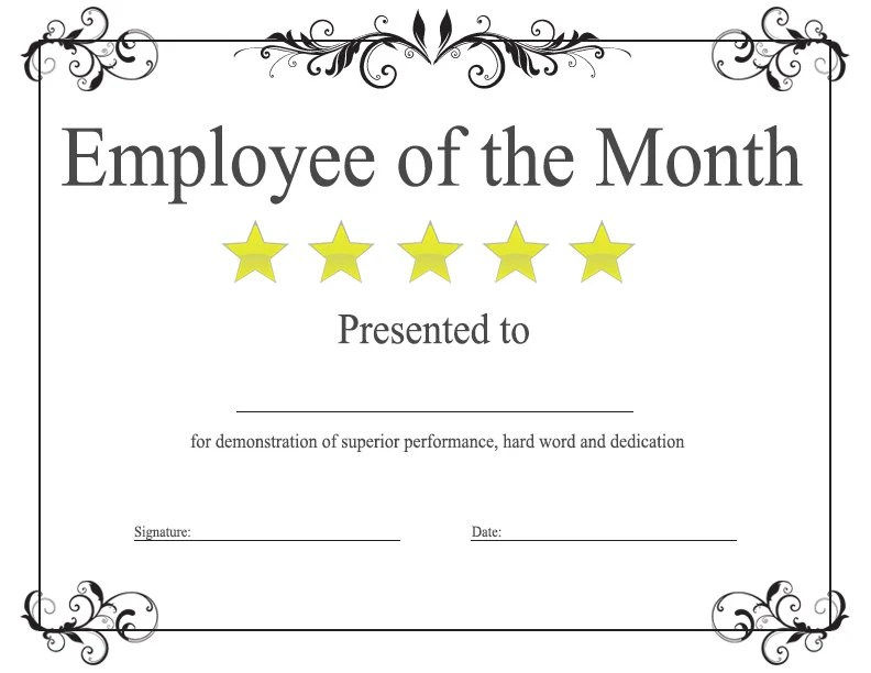 employee month certificate template free award certificate