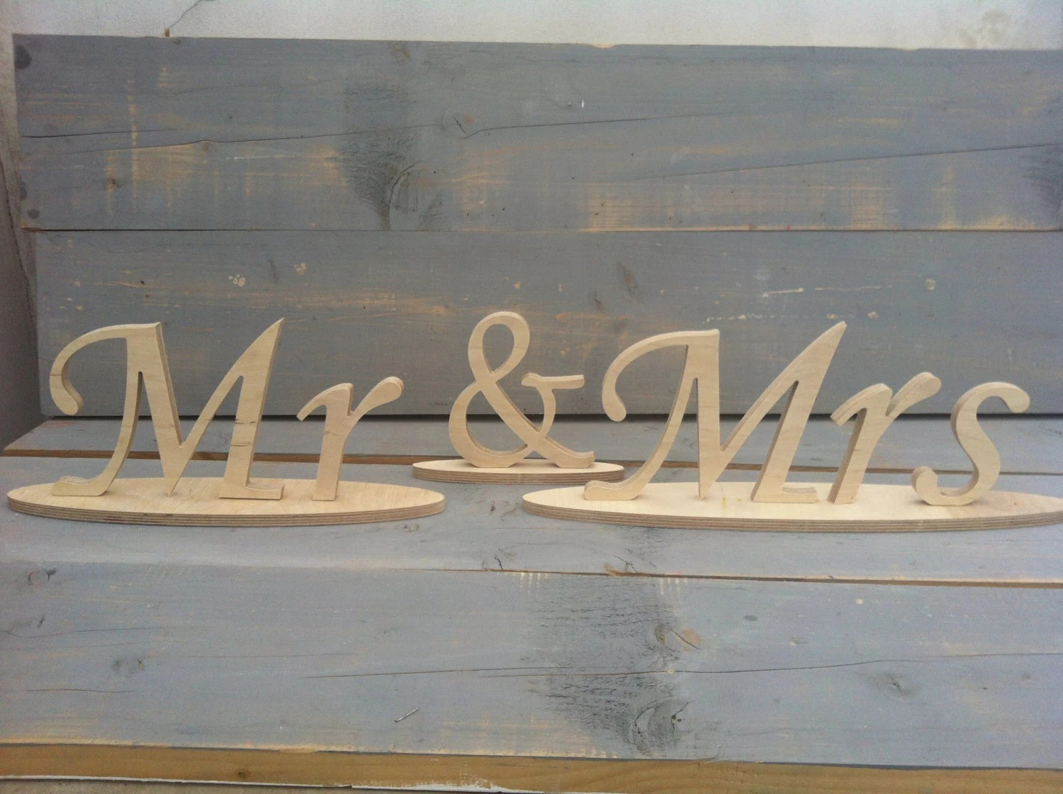 Free Standing Wood Letters Mr And Mrs Wedding Signs For Table