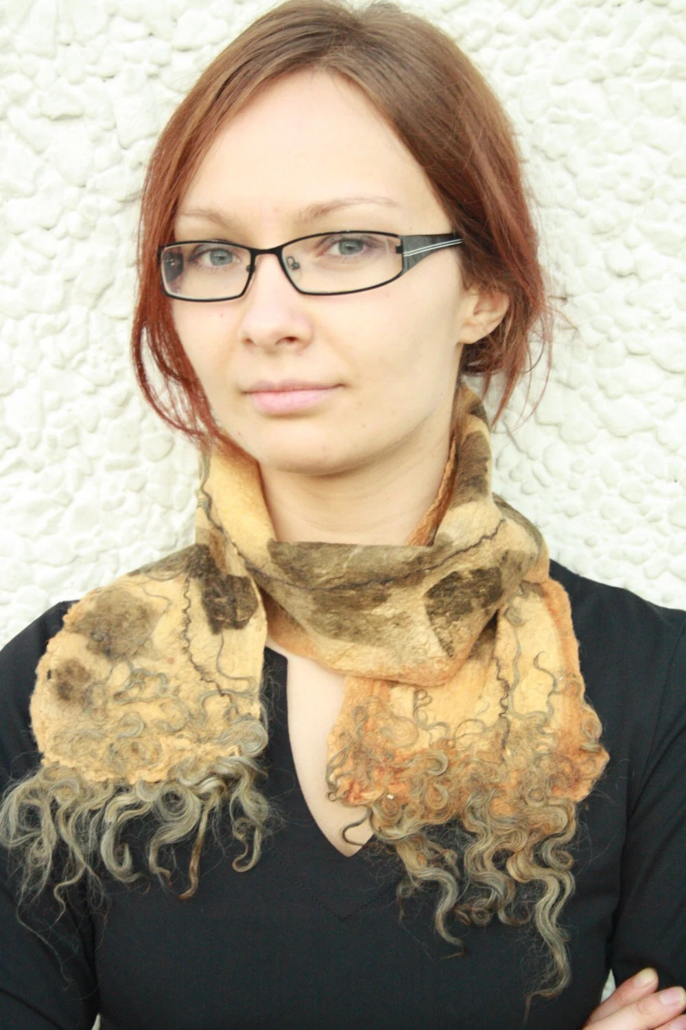 Felt scarf Eco print woman shawl Rusty brown yellow scarf Short elegant scarf Spring Autumn accessory Gift for her Ready to ship - hedgiefelt
