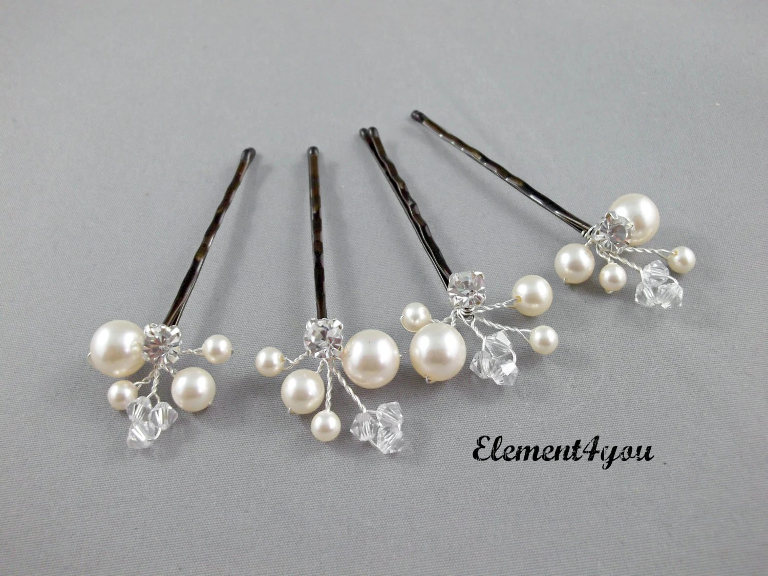 Ivory Pearl Clip Bridal Hair Pins Wedding Hair Accessories