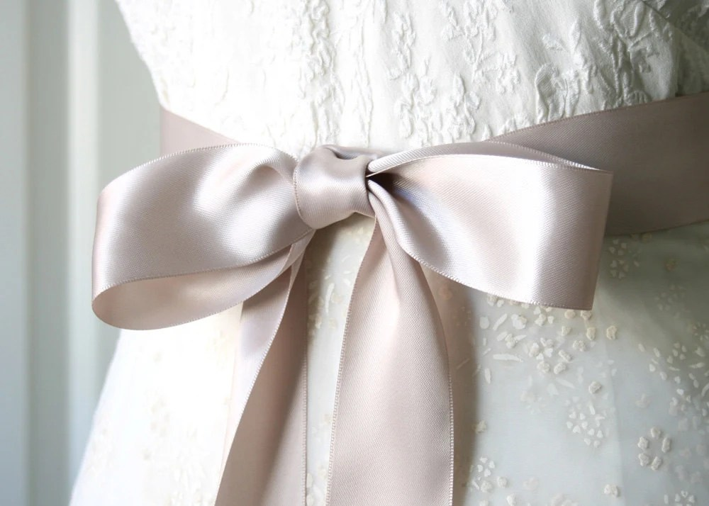 Taupe Bridal Sash Double Faced Satin Ribbon Belt 1.5 Inch