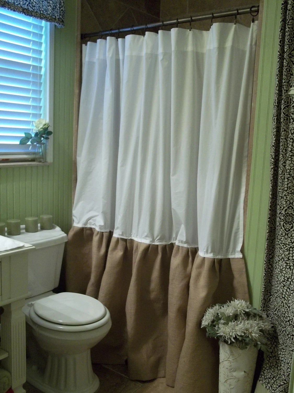 Burlap Shower Curtain Shabby Chic Burlap Amp Cotton Gathered