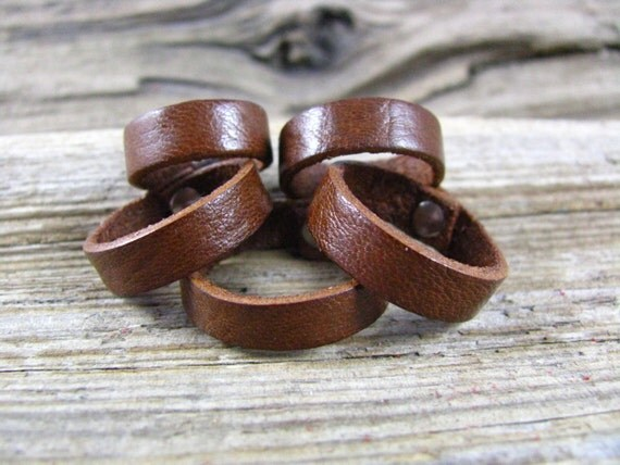 Leather Ring Mens And Womens Brown Leather Ring Band