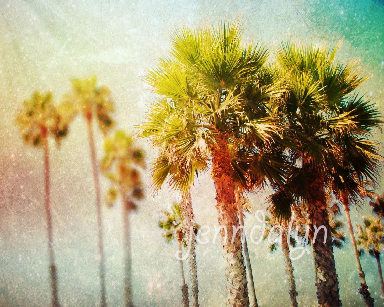 Palm Tree Print Neon California Wall Art Los Angeles Print