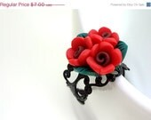 HALF OFF Gothic Red and Black Bunch of Roses Polymer Clay Flowers Ring - Glamour365