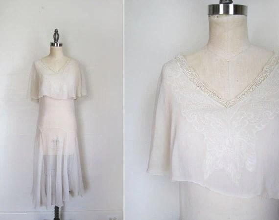 1920s / 1930s Dress / White Silk Chiffon Wedding Dress / S