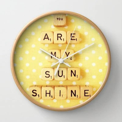 "You Are My Sunshine. Unique Wall Clock. Home Décor. Scrabble Blocks. Yellow Polka Dots. Nursery Décor. Round. Ready-To-Hang. Diameter 10"" - happeemonkee"