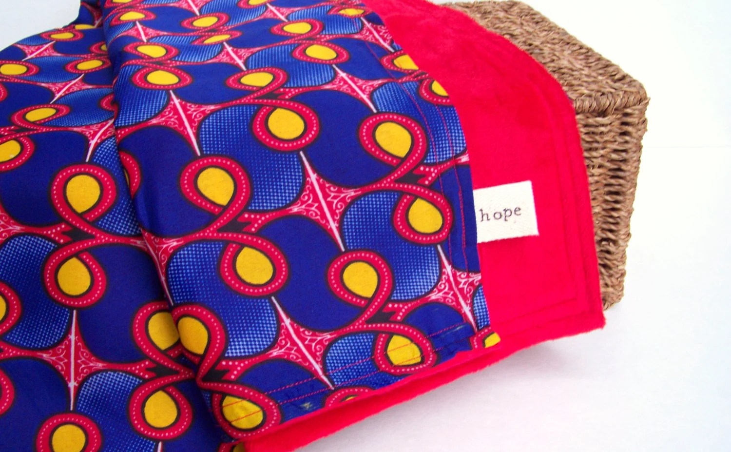 Superman African Baby Blanket Wax Print Fabric Toddler Congo Adoption Fundraiser