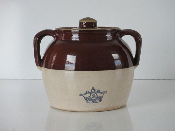 Bean Pot Crock Vintage Blue Crown 2 2 QT Glazed Stoneware