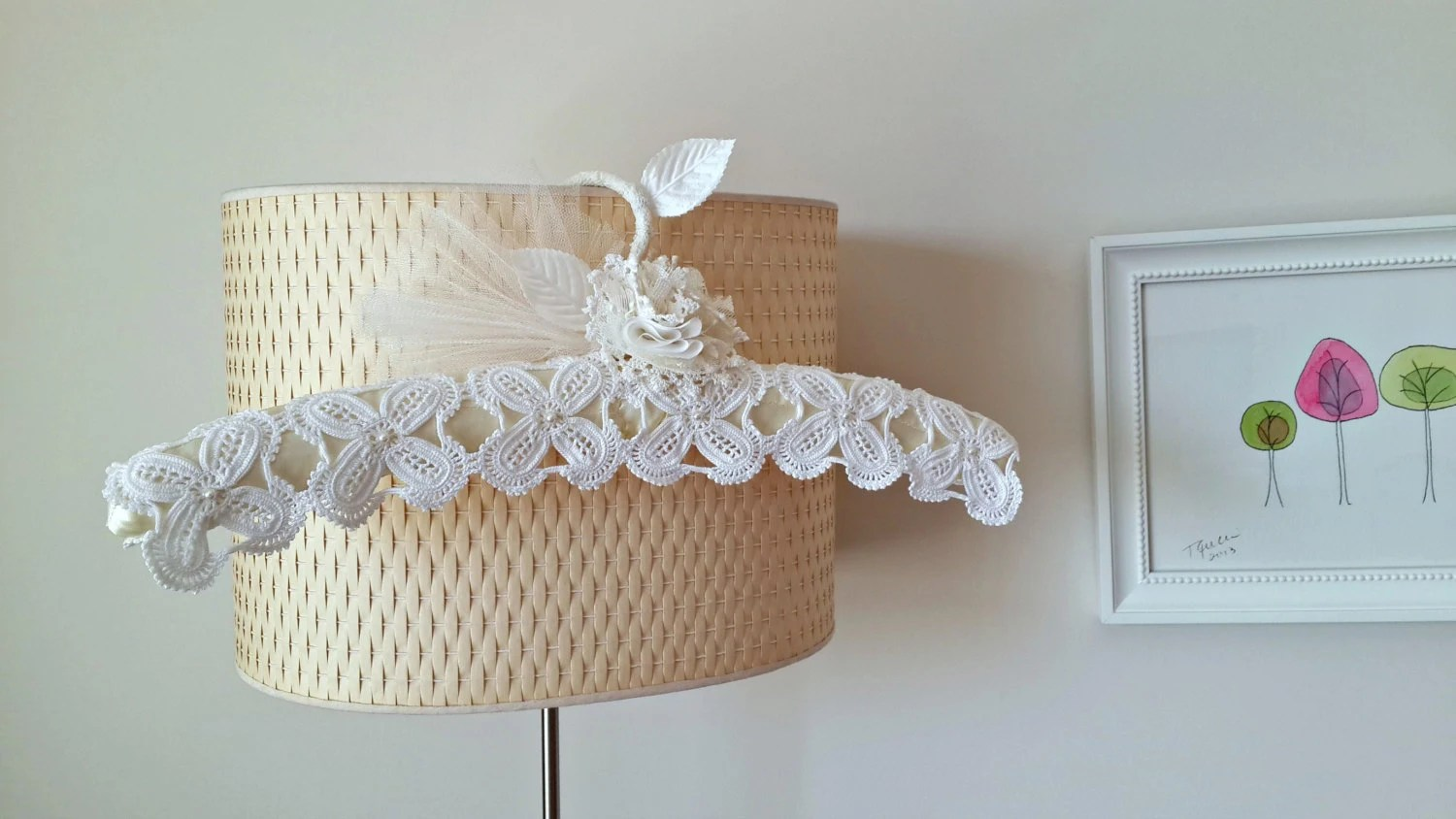 Wedding Dress Hanger With Vintage Handcrocheted Doilies Lace
