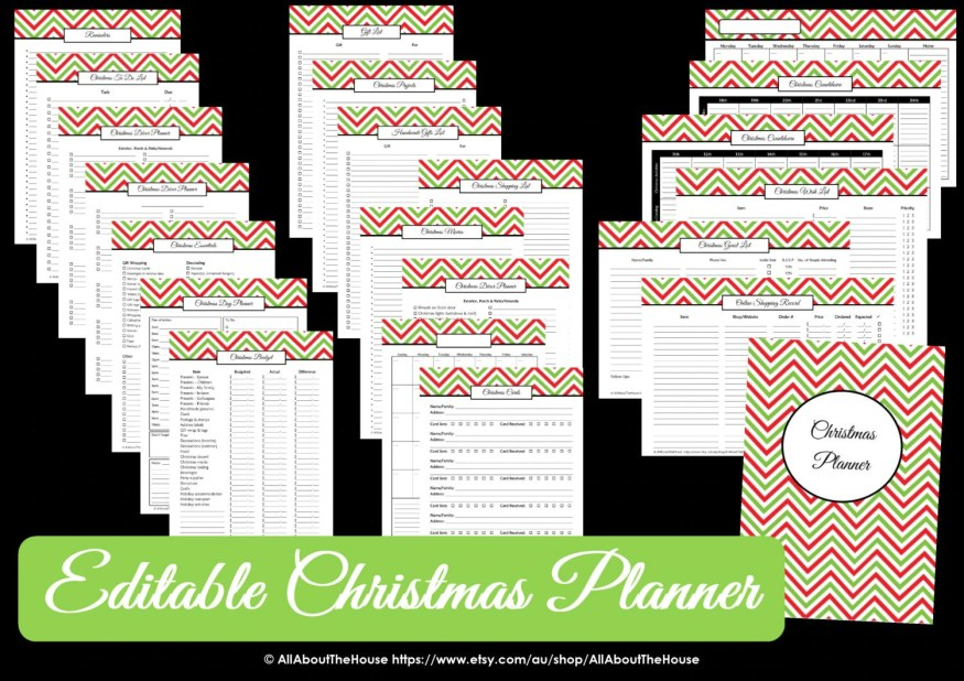 christmas planner printable, editable, bucket list, wish list, christmas cards, christmas budget, planner cover, christmas menu, checklist