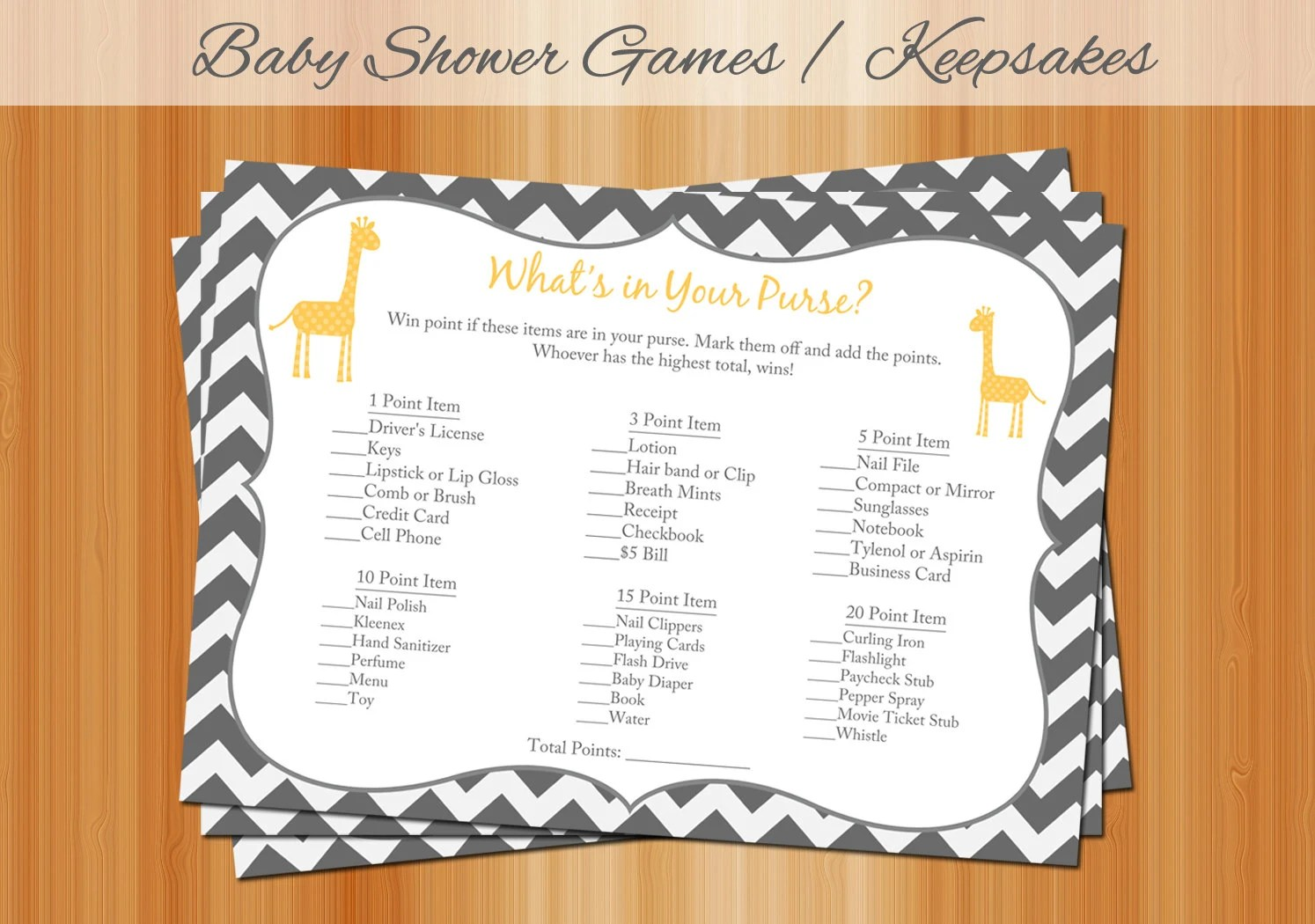 Baby Shower Games What S In Your Purse Printable Giraffe