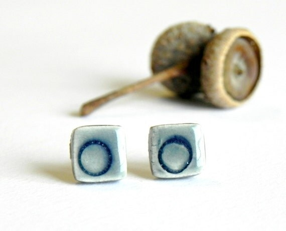 Blue Ceramic Post Earrings Modern Geometric Stud Earrings Hypoallergenic Pottery Jewelry