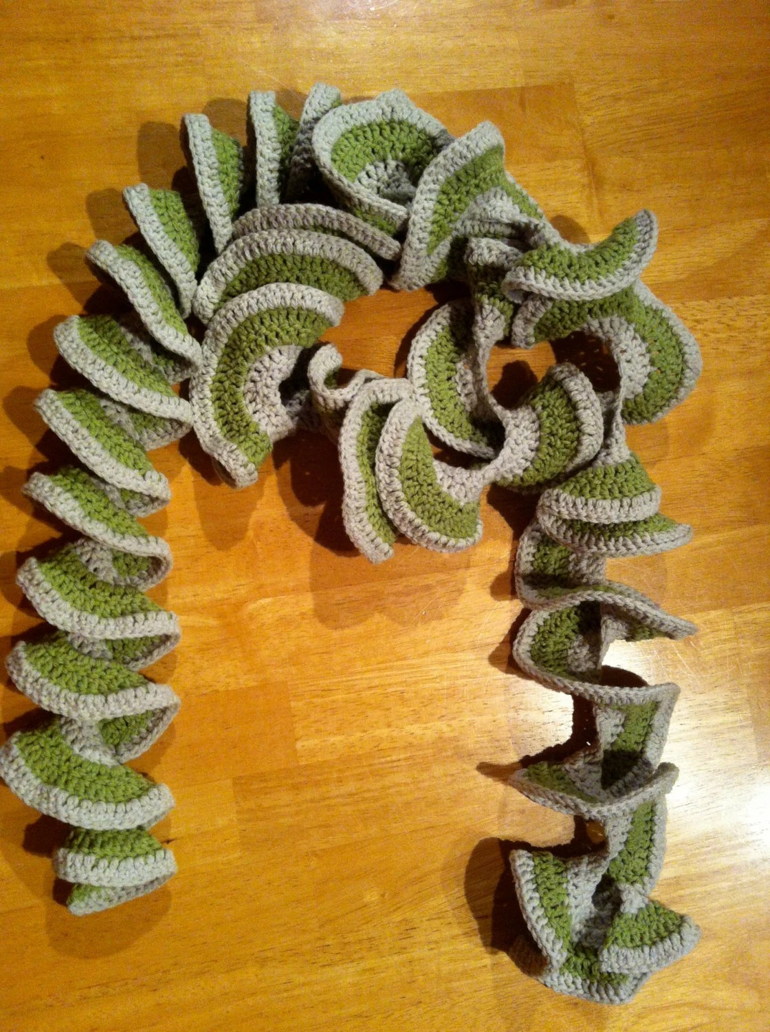 Hand Crochet, moss green and pale grey, swirl scarf, Irish creative unique gift,  cotton and acrylic wool mix, machine washable 40
