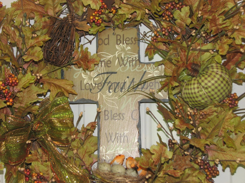 Fall Wreath Autumn Thanksgiving Wreath pale green rust beige brown pumpkins pip berries slate cross fall decor - TheVineDesigns