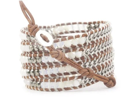Wrap bracelet with beads and chain - bySpellbound