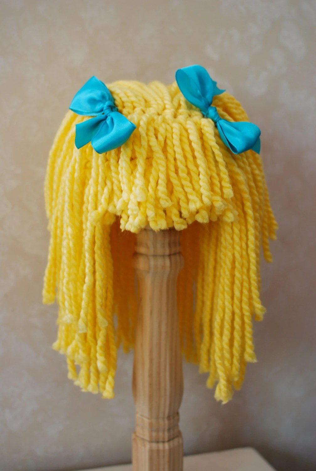 Yarn Hair Wig Toddler Size Yellow Blonde With Blue Ribbons
