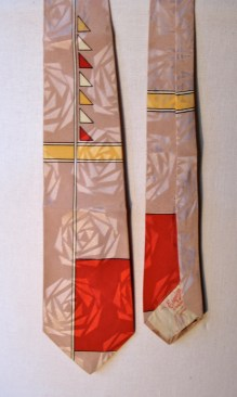 Vintage 1940s Rayon Necktie with Geometric patterns