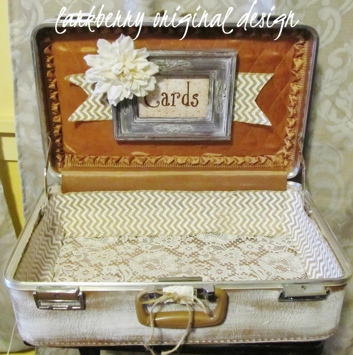 ShaBBy CHiC Wedding Card Suitcase Rustic Wedding Card