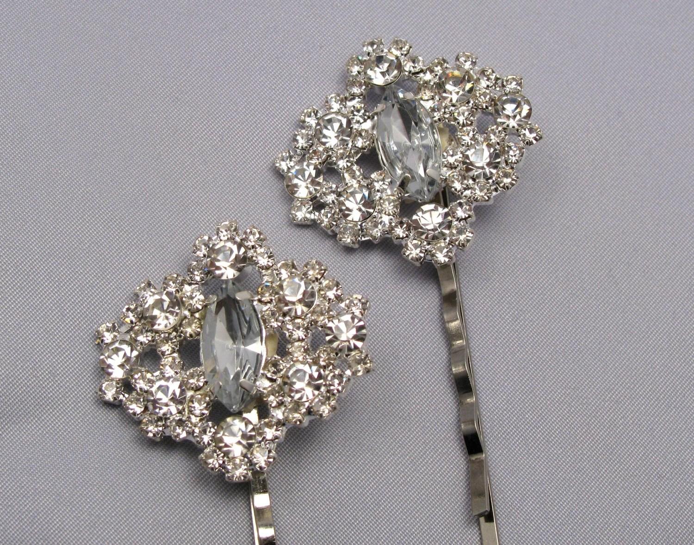 Rhinestone Bobby Pins Bridal Wedding Hair Pins Silver