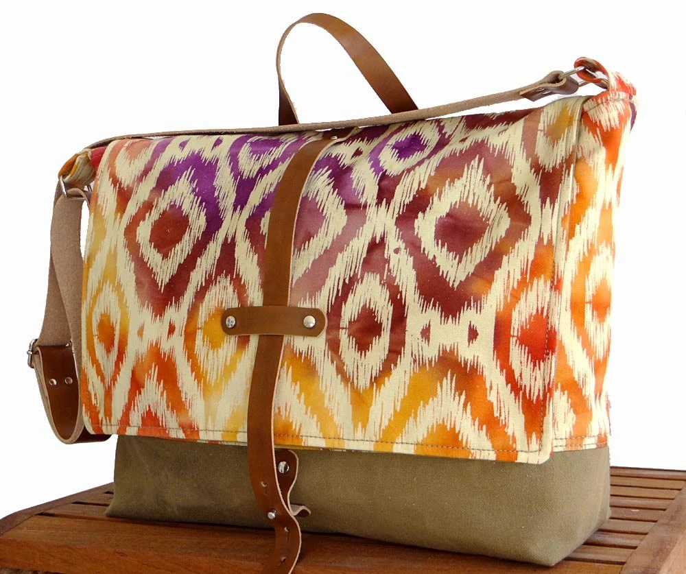 Ikat Messenger Bag -  Waxed Canvas Pink Orange & Leather Strap - hmmills