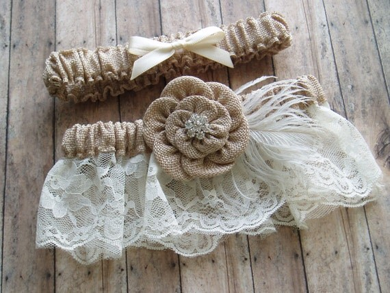 Wedding Garters Burlap Garter Set LACE WEDDING GARTER Bridal