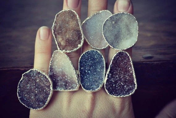 Lux Divine Large Druzy stapelbar Gemstone Ring / / / Silver