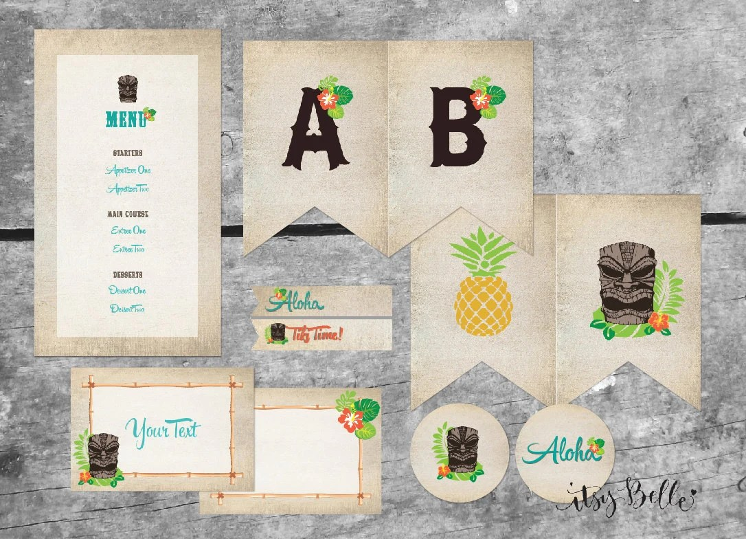 Tiki Party Luau Instant Download Printable Party Package By