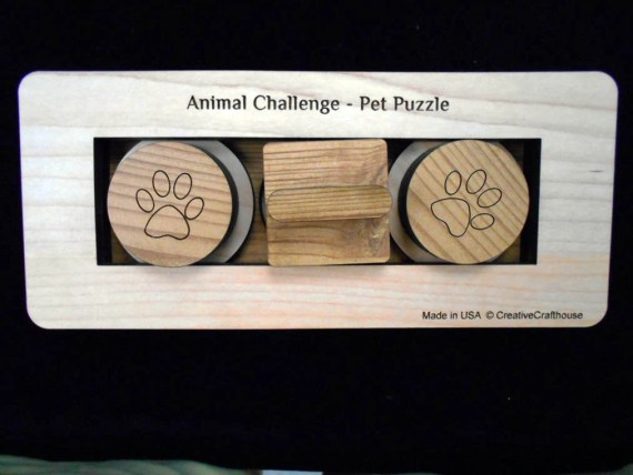 Pet Challenge Brain Teaser Puzzle - Dog or Cat Treat Feeder Puzzle size small for small and medium dogs & all cats