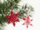 Snowflake Earrings - Crochet Earrings - Red Crochet Snowflakes - Fiber Art Jewelry - Winter Holiday Christmas Jewelry