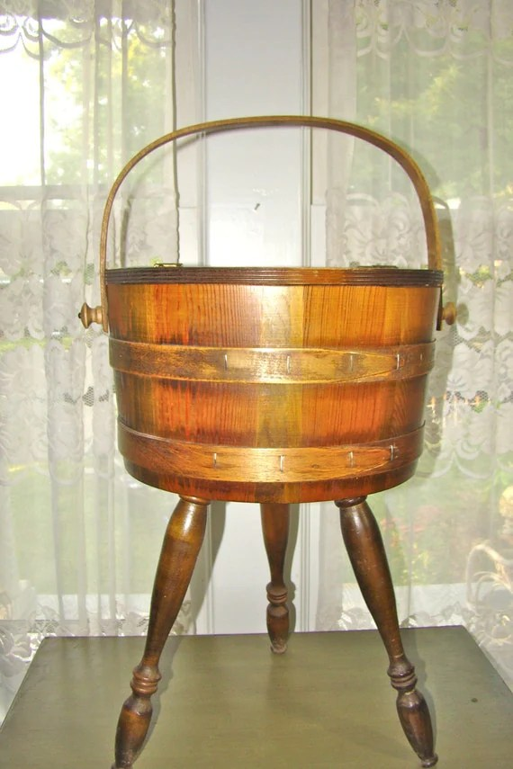 Vintage Wooden Storage Barrel On Legs Sewing By