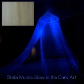Starry Night Bed Canopy - Cream - a romantic night light that glows all night - StellaMurals