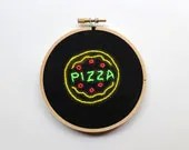 Embroidery Hoop Art Neon Sign.  Pizza.  Wall Decor.  Home Decor.  Housewarming Gift.  Handmade by MoonSick. - MoonSick