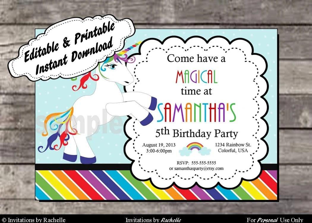 Rainbow Unicorn Invitation Birthday Party Editable Printable