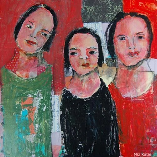 Acrylic Collage Portrait Painting, Mixed Media, Palette Knife Painting, Three Women, 12x12 Canvas, C'mon Now Little Sister