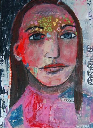 Acrylic Portrait Painting Collage 9x12 Canvas, Original, Colorful, Mixed Media, Lesson, Flowers, Numbers, Girl, Black Hair