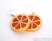 Orange dangle round quilling earrings food motif gift for her under 15