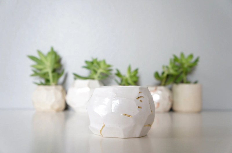 MADE TO ORDER facet vessel no. 3 - white with gold