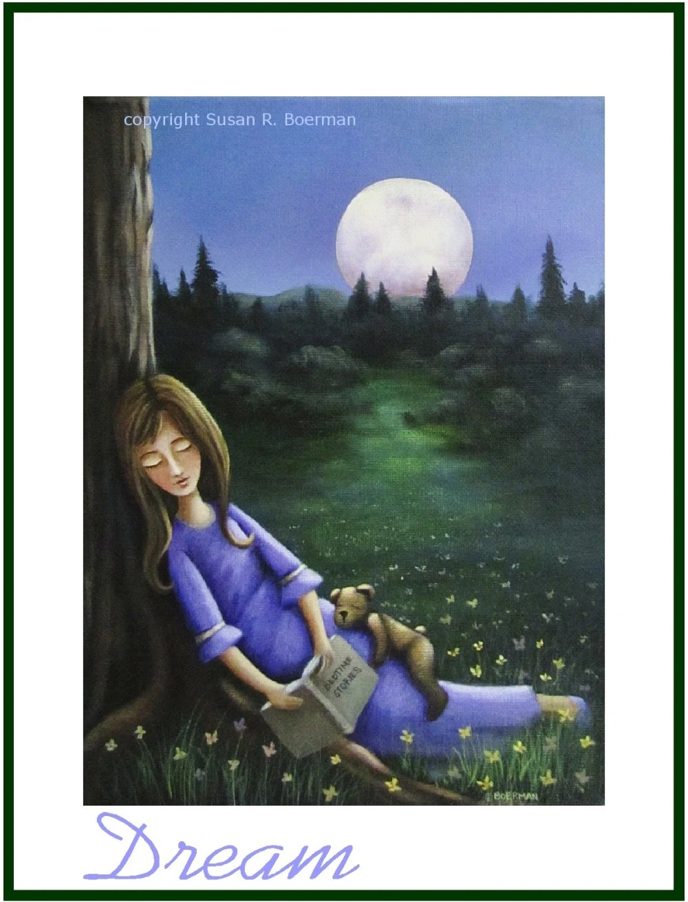 Blank Note Card - Sleeping Girl with Purple Dress, Bedtime Story book and Teddy Bear at Night Under a Full Moon - susanville