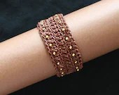 Soft Oiled Natural Colored Leather Bracelet with Gilded Sterling Silver Beads - JewelryByAgnes