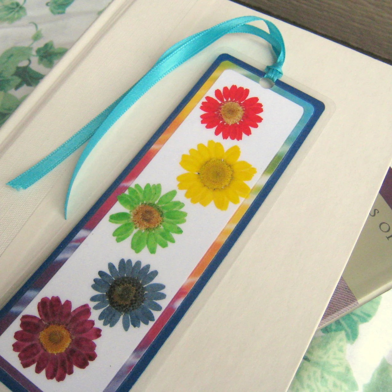 Pressed Flower Daisy Multi-Color Tie-Dyed Rainbow Dasies Floral Laminated Bookmark - BGardenCreations