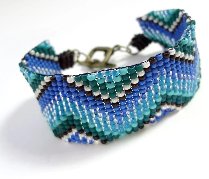 Blue Chevron Bracelet Modern Bead Loomed Jewelry - MegansBeadedDesigns