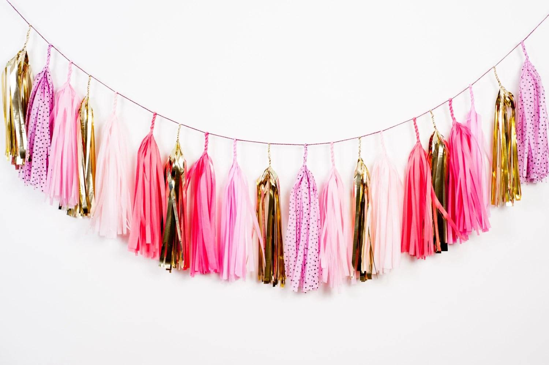 Speckled Pink Tassel Garland - StudioMucci
