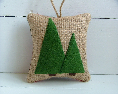 Woodland Christmas Ornament, Burlap and Plaid Woodland Forest Decoration - VintageBloomDesign