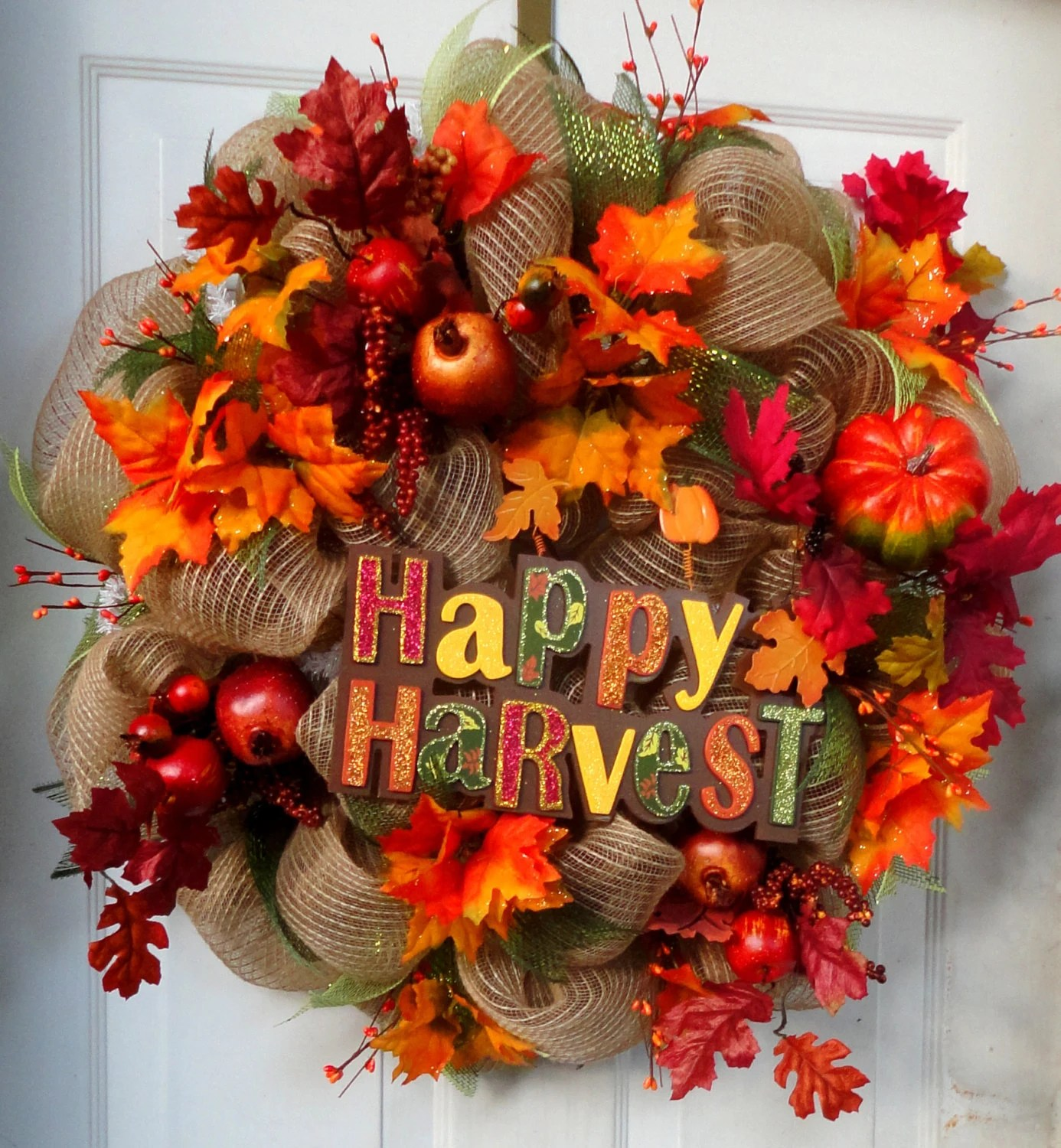 Items Similar To ONE LEFT Fall Deco Mesh Wreath Autumn