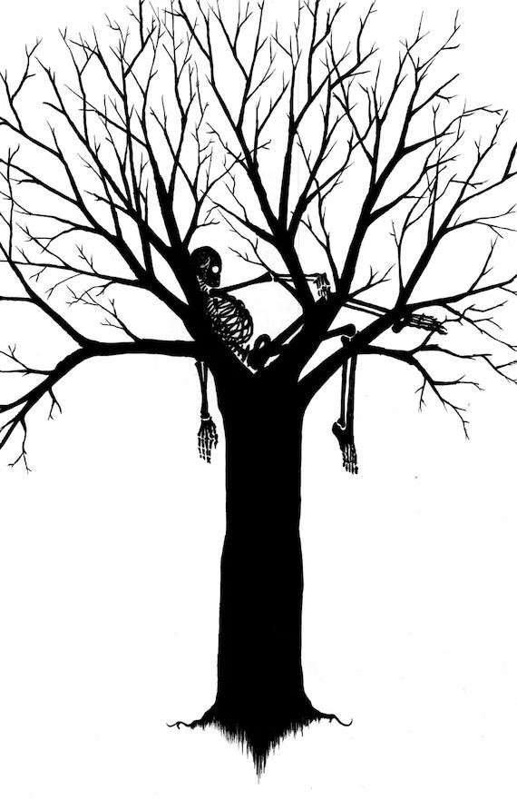 Items similar to Skeleton Tree, Black and White, Digital ... (570 x 881 Pixel)