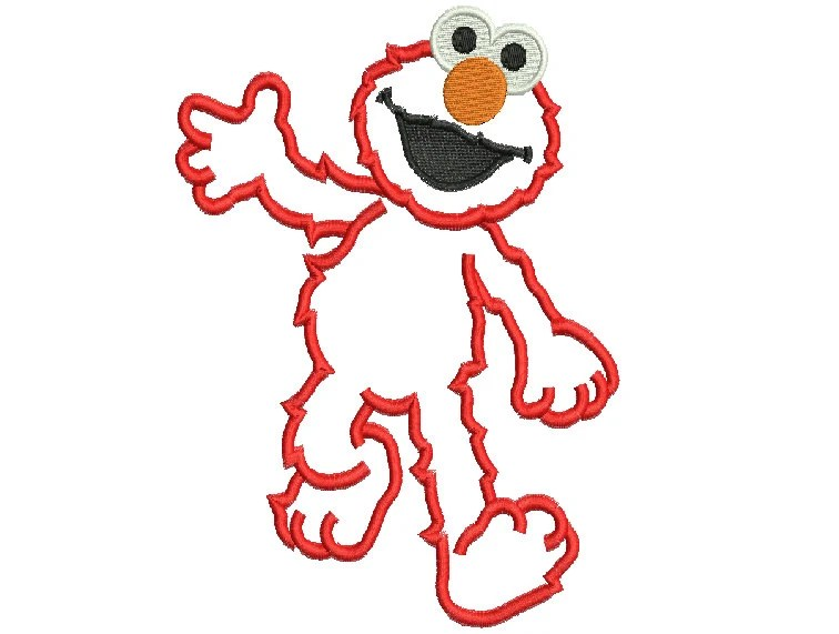 Machine embroidery sesame street Elmo full body applique Design 5x7 and 6x10 Instant Download - Embroideryy