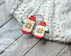 Double wood brooch winter mittens - laser cut & hand painted
