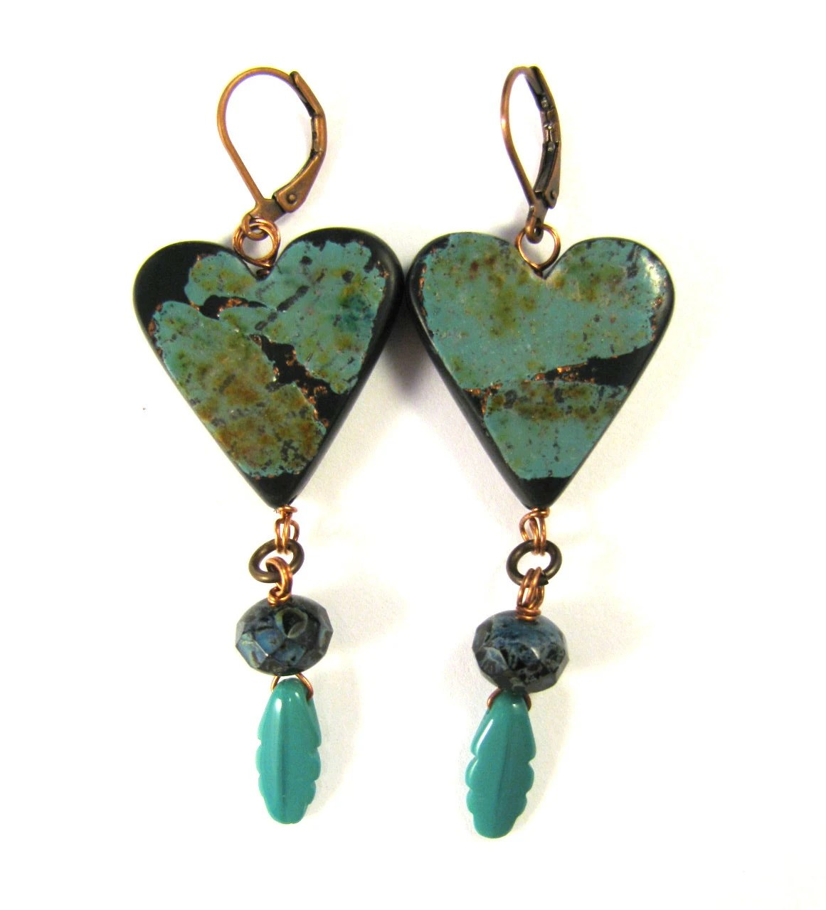 Fabulous Faux Collection - Fox Turquoise Heart Earrings with Turquoise Czech Glass Feather Charms - DivaDesignsInc
