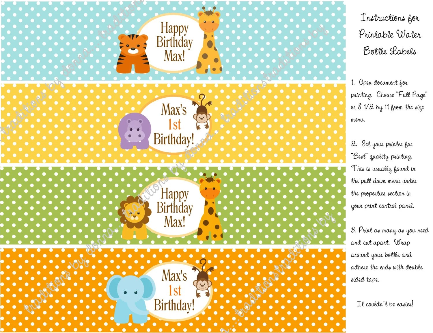 Baby Jungle Animals Personalized Water Bottle Labels Printable